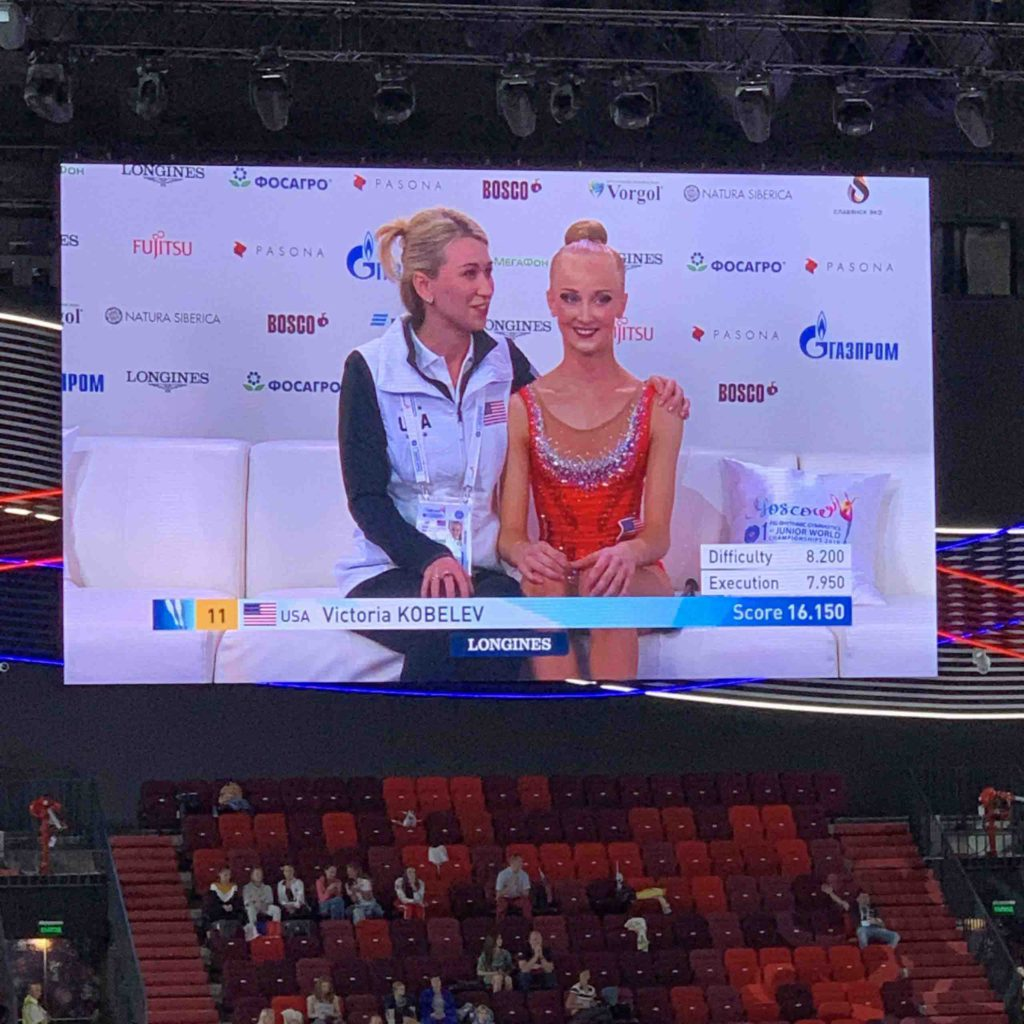 Rhythmic Gymnastics 1st Junior World Championship in Moscow, Russia. Elena Nikolashkina and Victoria Kobelev. USA NATIONAL TEAM.